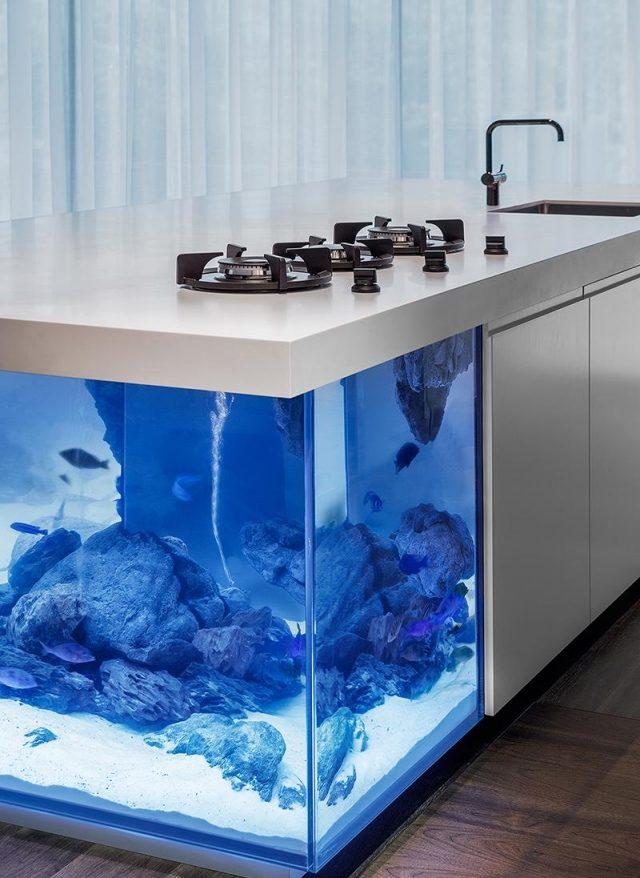 Minimalistische Kücheninsel Ocean Mit Integriertem Aquarium   Blattformige Designer  Kuche Leaf