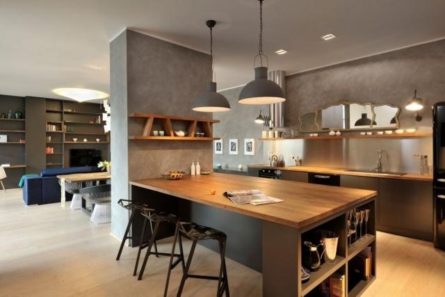 moderne-wohnungseinrichtung-wohnkueche-esstheke-modulkueche - küche aus holz