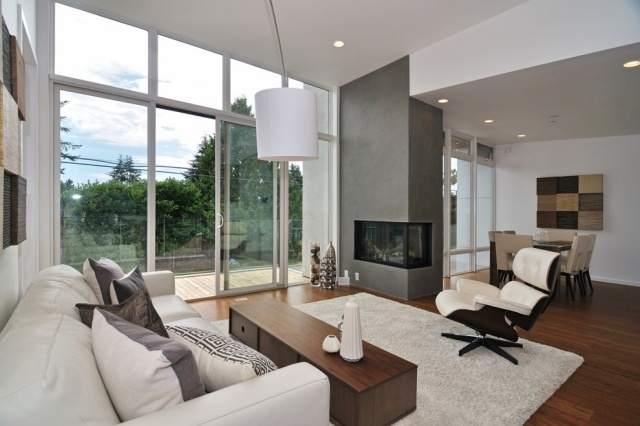 Tipps zum Wohnzimmer gestalten- Kaminverkleidung - kaminecke gestalten