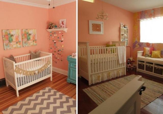 Wandgestaltung im Kinderzimmer mit Farbe Lachs \ Pfirsich - wandgestaltung farbe kinderzimmer