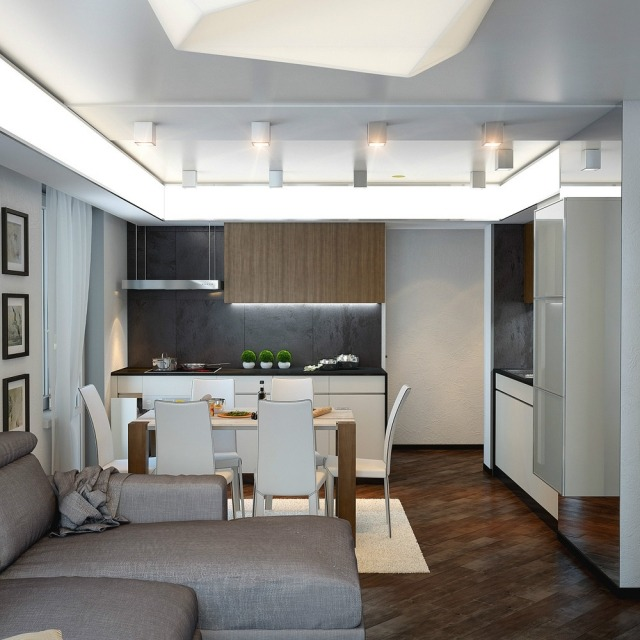 Einrichtungsideen für Wohnzimmer mit offener Küche - schwarz im esszimmer ideen einrichtung