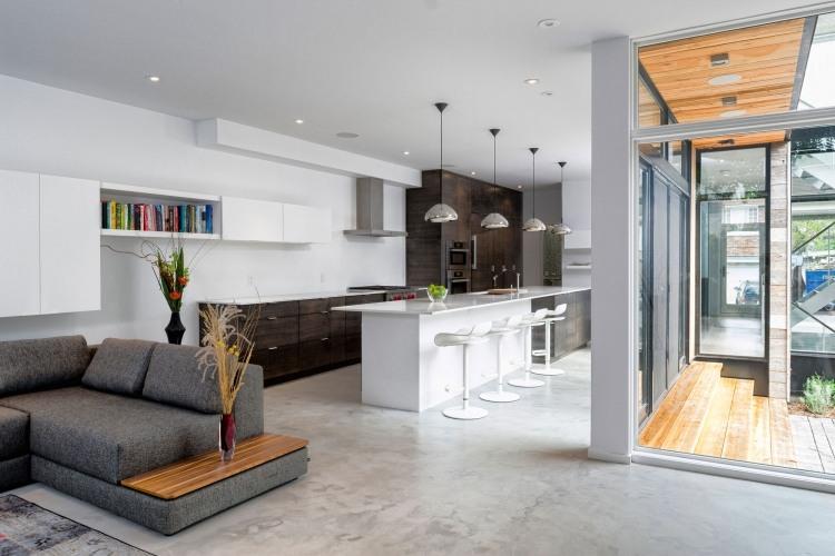 einrichtungsideen-wohnzimmer-offene-kueche-modern-grau-marmorboden - wohnzimmer orange grau