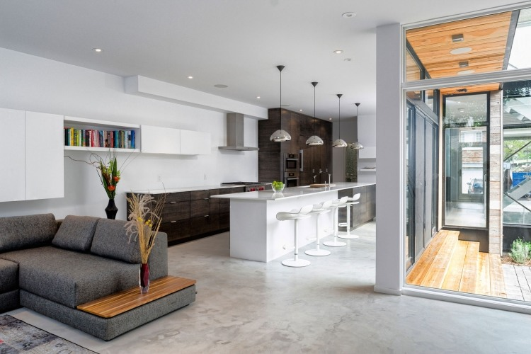 einrichtungsideen-wohnzimmer-offene-kueche-modern-grau-marmorboden - wohnzimmer offene k che