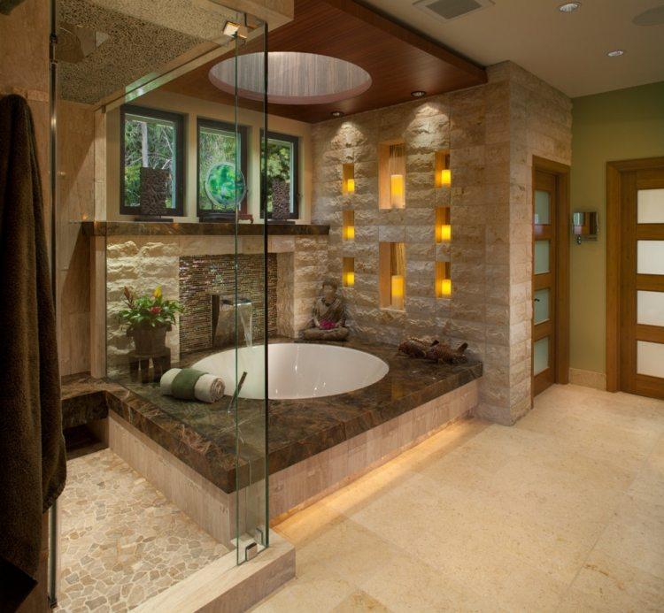 Steinfliesen An Der Wand Im Badezimmer 30 Ideen Bereich 1 Badezimmer