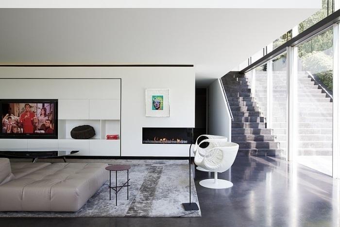 wohnwand-weiß-eingebaut-led-fernseher-ethanol-kamin-vintage - wohnwand mit kamin