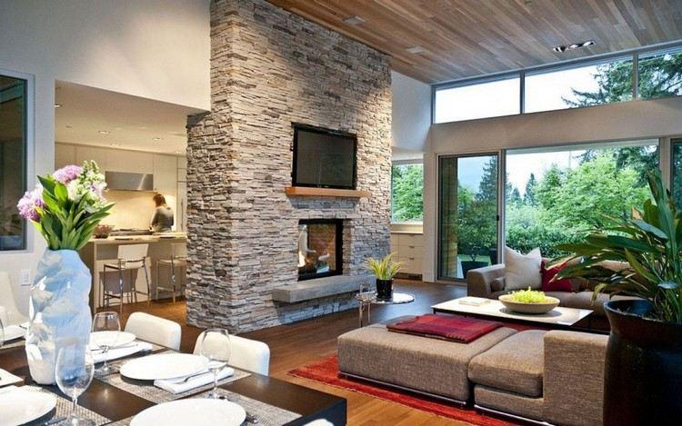Steinwand im Wohnzimmer als starker Ausdruck der Zeitlosigkeit - steinwand wohnzimmer fernseher