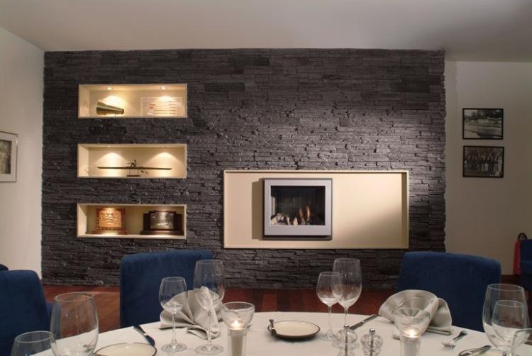 wohnzimmer steinwand optik: design steinwand wohnzimmer grau, Wohnideen design