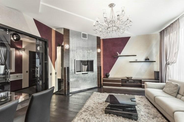 30 Wohnzimmerwände Ideen Streichen und modern gestalten - beispiele wandfarbe lila wohnzimmer