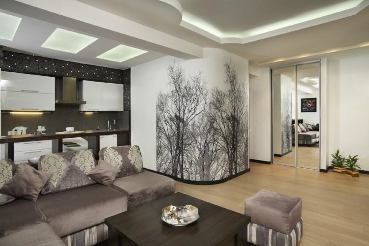 Wohnzimmerwände mit Farbe gestalten - schräge Streifen mit 3 - modern tapezieren