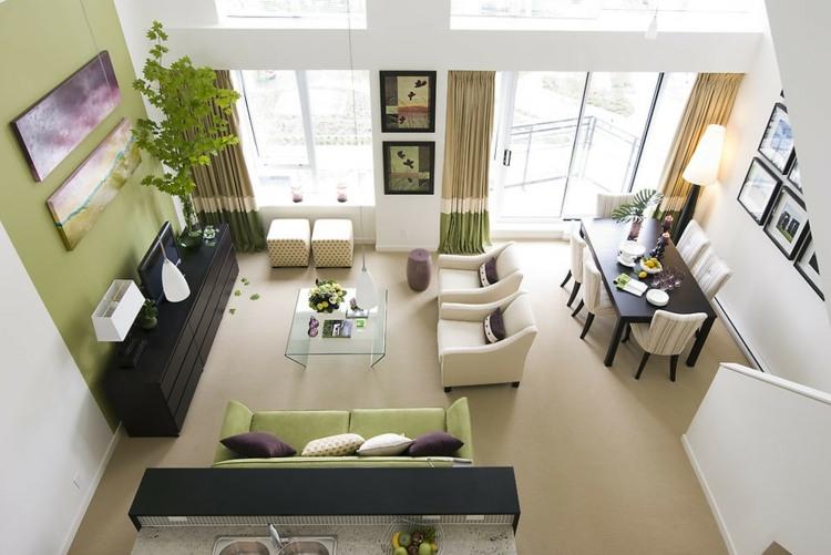 Farbgestaltung wohnzimmer grün  Farbe Gruen Akzent Einrichtung Gestalten. die besten 25+ wandfarbe ...