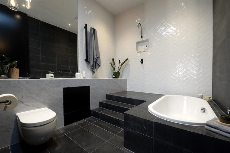 Beispiele für Badezimmer Fliesen - 35 originelle Inspirationen - badezimmer anthrazit weis fliesen