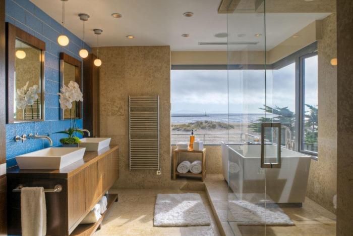 modernes-bad-blaue-wand-badezimmer-beleuchtung-hängelampenjpeg - badezimmer beleuchtung wand