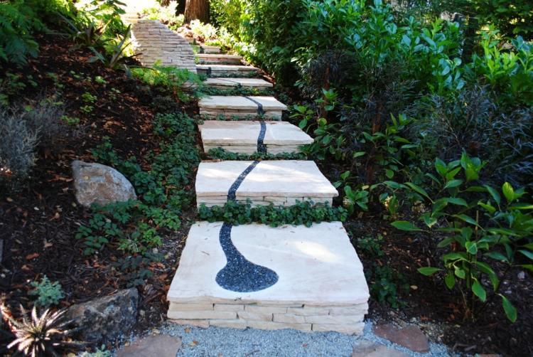Weg im Garten - 18 tolle Ideen aus verschiedenen Materialien - tolle ideen fur den garten