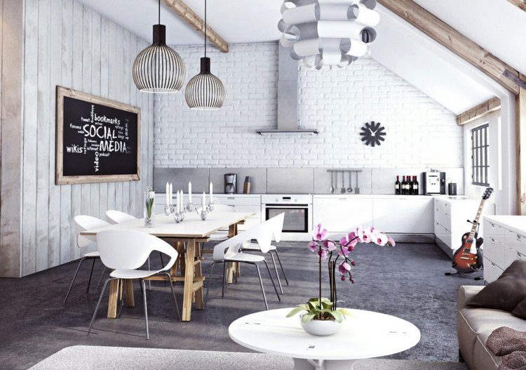 Wandgestaltung der Küche mit Fliesen, Tapete \ Wandfarbe - wandgestaltung kuche modern