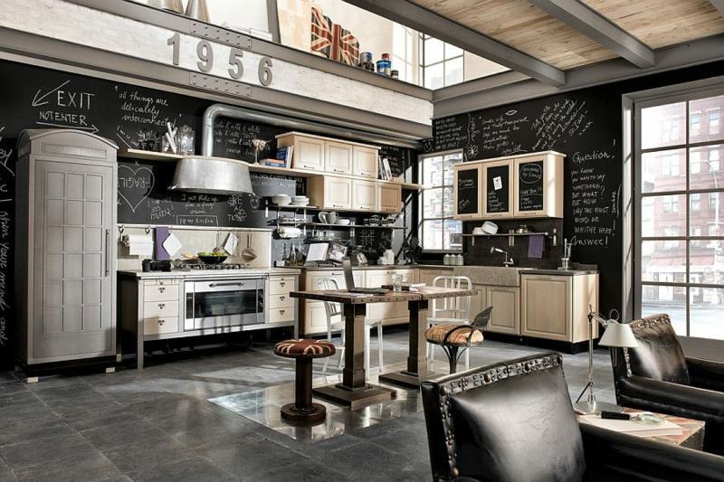 Vintage Kuche Holz Stahl Design Bilder Villawebinfo Kuhlschrank Finden  Tipps Trendsetter Kuche