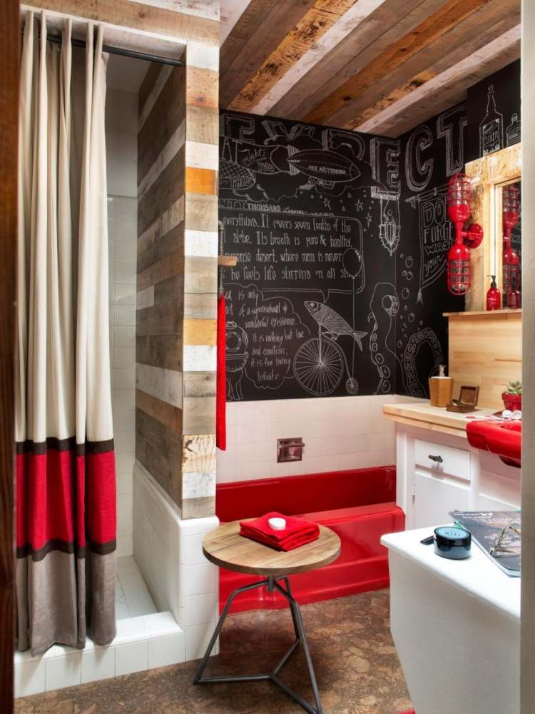 Holz Innen Badezimmer Modern Klein Wohnung Rot Decke Tafel Kreide