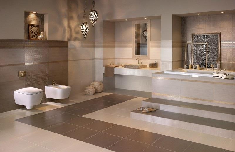 √ Badezimmer in beige modern gestalten
