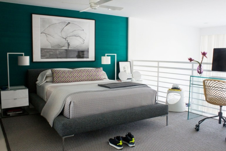 Wandfarbe türkis - 37 Gestaltungsideen mit Sommer-Flair - schlafzimmer in turkis