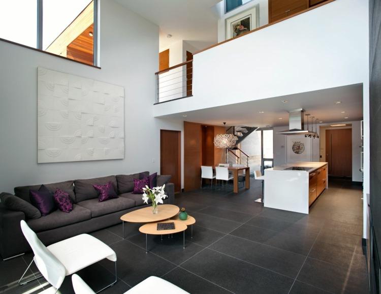 Graue Fliesen für Wand und Boden - 55 moderne Wohnideen - fliesen grau wohnzimmer