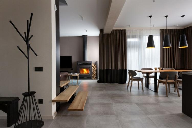 Haus Design mit Akzent Regal und Fassade in dunkler Farbe - bucherregal designs akzent interieur