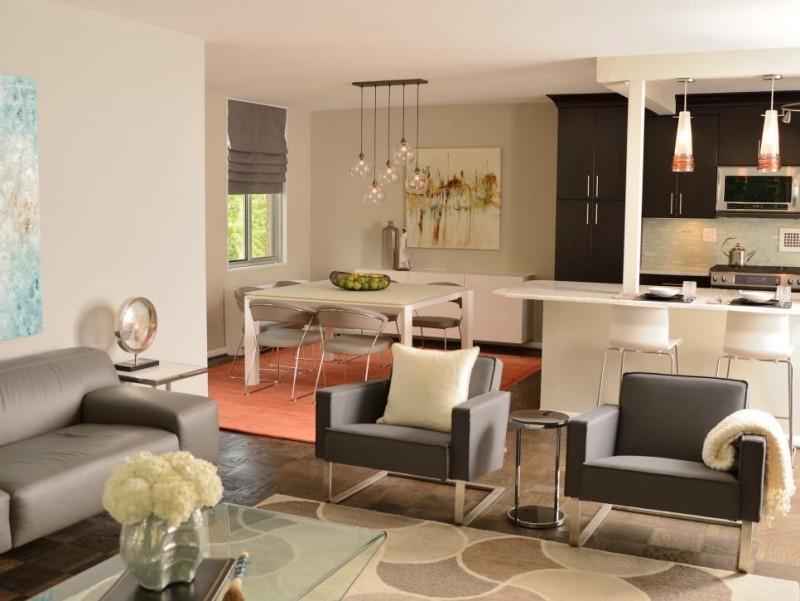 Offene Küche Mit Wohnzimmer   Pro, Contra Und 50 Ideen   Kuchen Design In  Braun