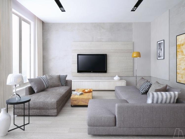 Schlafsofa in Grau für ein modernes und funktionales Wohnzimmer - creme graues wohnzimmer