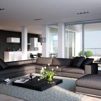 Wohnzimmer in Grau mit Eckcouch im Mittelpunkt - 55 Ideen