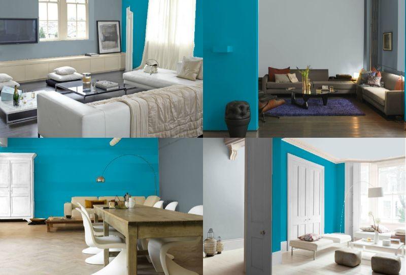 Wandgestaltung in Grau und Türkis - 25 Farben Ideen - wande farben ideen