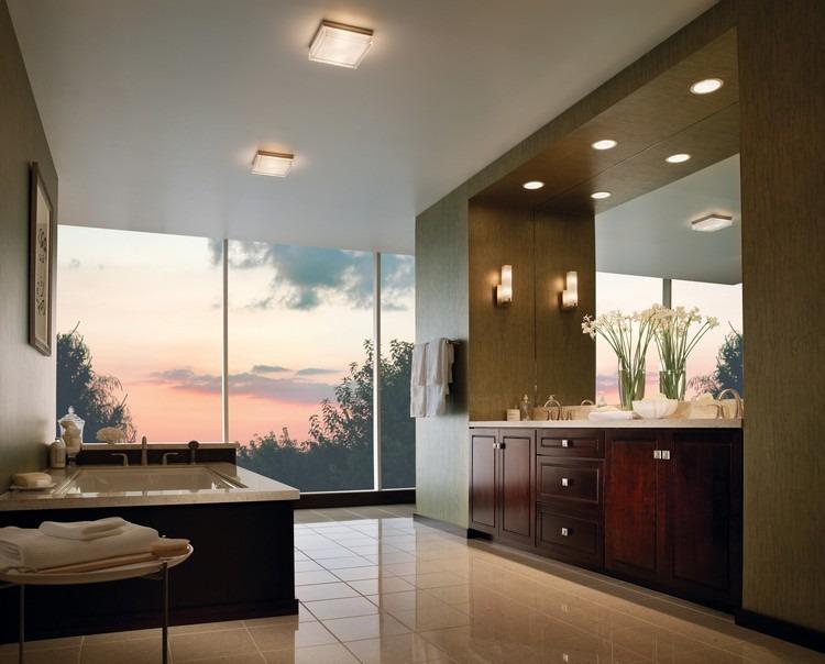 Badezimmer Deckenleuchte   53 Beispiele Und Planungstipps   Badezimmer  Quadratisch