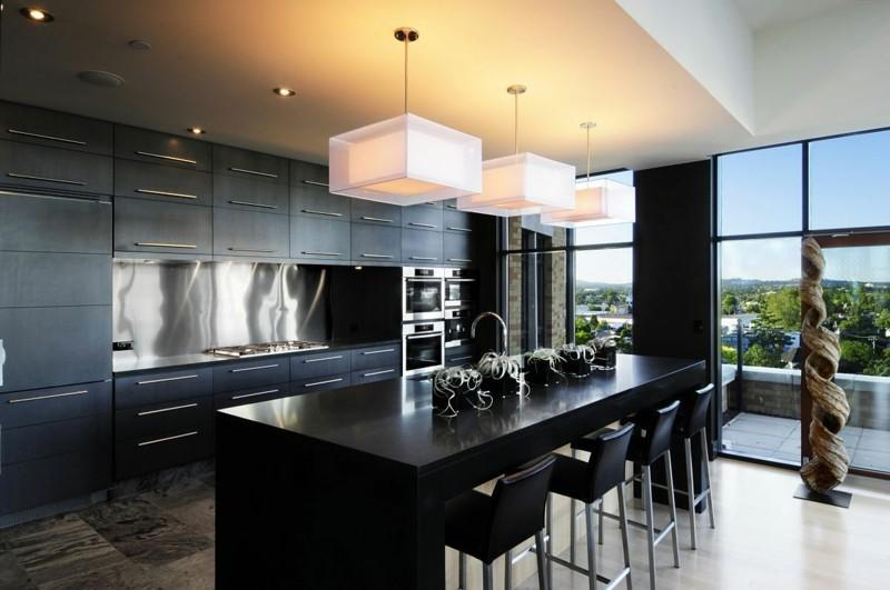 Stahl Kücheninsel Idee ~ Alles Bild für Ihr Haus Design Ideen - schwarze kuche tipps bilder interieur
