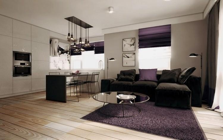 Modernes Wohnzimmer mit dunklem Sofa einrichten 55 Ideen - schwarz im esszimmer ideen einrichtung
