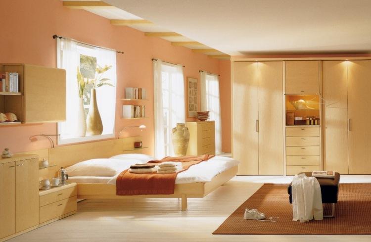 Die Wandfarbe Apricot - 35 Ideen und Tipps zum Kombinieren - schlafzimmer gestalten wandfarbe