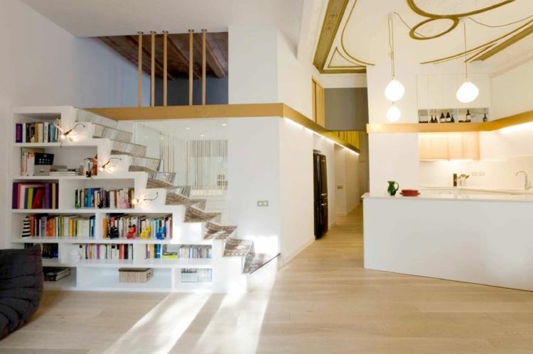 ideen-treppen-nische-minimalistisch-interieur-regal-weiss-offene - offene küche ideen