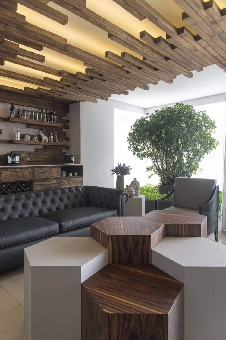 Naturholz Wohnzimmer Wand