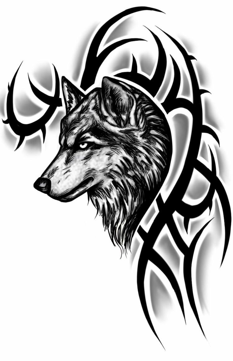 Tattoo wolf kopf tribal idee modern design