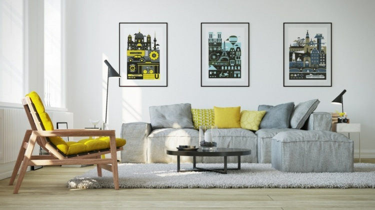 25 Wohnzimmer Ideen - Einrichten mit gelben Akzenten - wandbilder wohnzimmer ideen