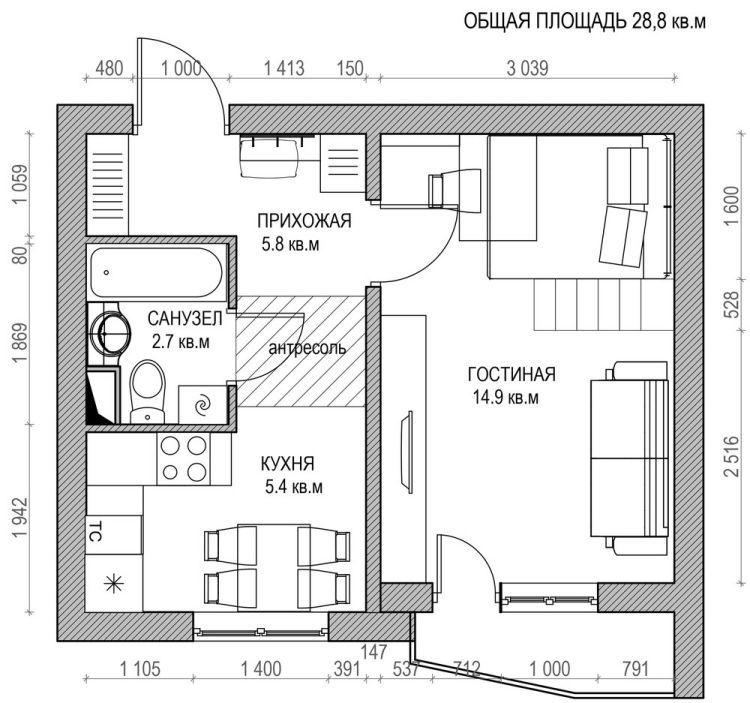 30 Qm Wohnung Einrichten. Ein Appartement Mit Qm Geschickt Und ...