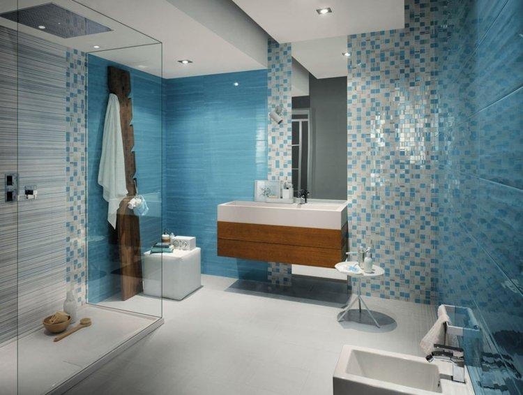 ... Blaue Fliesen Fürs Badezimmer   25 Moderne Beispiele   Badezimmer Blau  ...