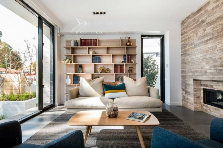 Wandverkleidung als Deko Akzent im modernen Interieur - bucherregal designs akzent interieur