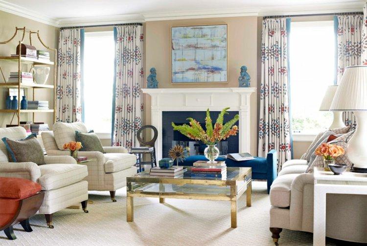 Wohnzimmer Gardinen und Vorhänge - 26 ausgefallene Ideen - wohnzimmer beige blau