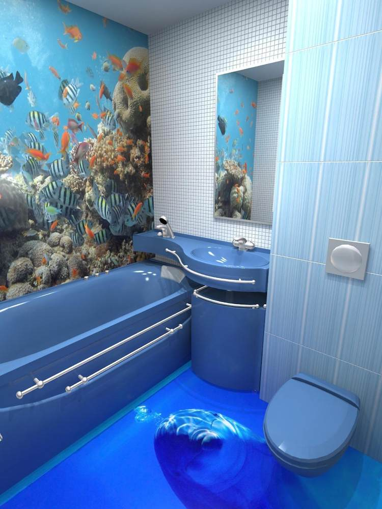 Bodenbelag fürs Bad - 12 Alternativen zu Fliesen - 3d badezimmerboden