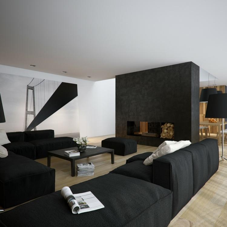 wohnzimmer ideen schwarzes sofa | node2010-hausdesign.paasprovider.com
