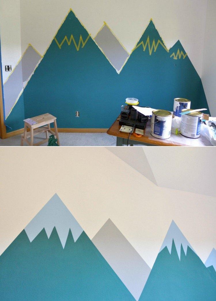 Wandgestaltung mit Farbe - Wandgemälde von Bergen selber machen - wande streichen farbe