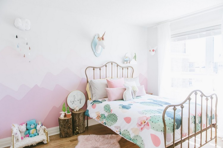 Wandgestaltung mit Farbe - Wandgemälde von Bergen selber machen - wandgestaltung farbe kinderzimmer