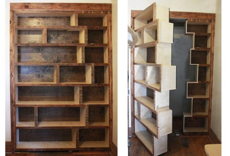 Praktische Wohnideen verstecken Räume - Geheimtüren - wohnideen zum selber bauen