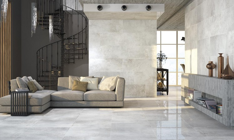Wohnzimmer Fliesen - Moderne Einrichtungsideen für den Wohnbereich - fliesen grau wohnzimmer