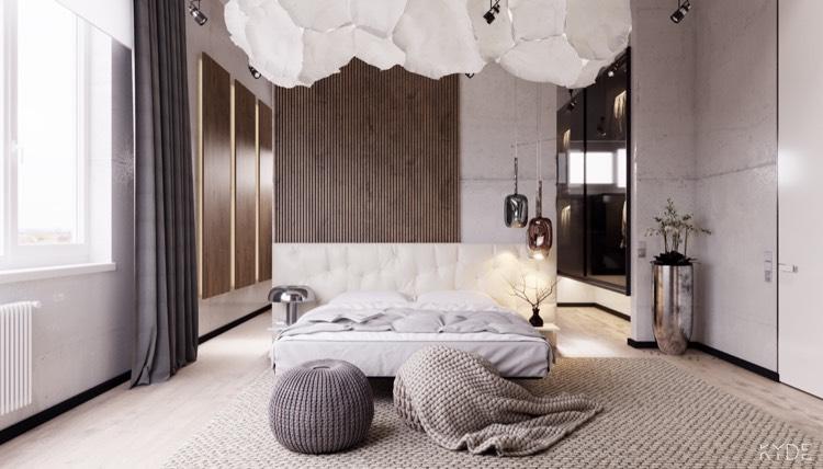 30 Ideen für moderne Schlafzimmergestaltung mit Lamellenwand - schlafzimmer creme wei