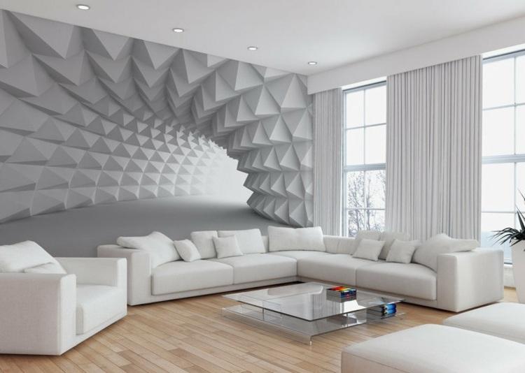 3d Grey Brick Effect Wallpaper Wand Mit Fototapete Gestalten F 252 R Eine Optische