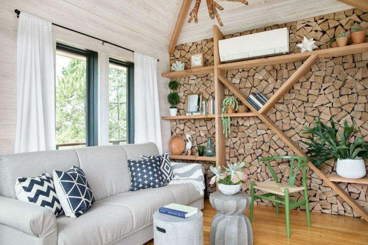 maritime wandgestaltung - wohndesign - Wohnzimmer Ideen Mit Holz