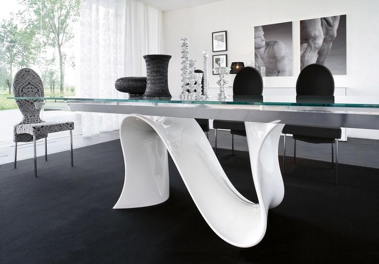 Table Salle A Manger Blanche Et Noire Et Ensemble Graphique